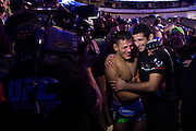 DALLAS, TX - MARCH 14:  Rafael Dos Anjos celebrates after defeating Anthony Pettis and becoming the new UFC lightweight champion during UFC 185 at the American Airlines Center on March 14, 2015 in Dallas, Texas. (Photo by Cooper Neill/Zuffa LLC/Zuffa LLC via Getty Images) *** Local Caption *** Rafael Dos Anjos