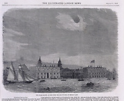 Solar eclipse seen over the Royal Observatory, Greenwich, 1858. The picture, viewed from the Isle of Dogs, shows the Royal Naval College and River Thames in the foreground.  From 'The llustrated London News' (London, 20 March  1858).