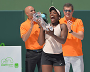 KEY BISCAYNE, FL - MARCH 31: Sloane Stephens (USA) becomes the 2018 Miami Open Woman's Champion on day 13 of the 2018 Miami Open held at the Crandon Park Tennis Center on March 31, 2018 in Key Biscayne, Florida.  (Photo by Andrew Patron/Icon Sportswire)