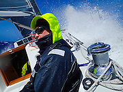 "Another douche for Chris Deiss aboard J46 ""Riva"" in gale-force conditions with two reefs and a No 3 jib, racing to Hawaii in the 2070 nautical mile Pacific Cup 2016 ocean race."