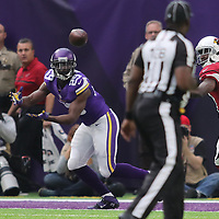 MINNEAPOLIS, MN - NOVEMBER 20: Xavier Rhodes #29 of the Minnesota Vikings intercepts a pass by Carson Palmer #3 of the Arizona Cardinals and returns it for a touchdown in the second quarter of the game on November 20, 2016 at US Bank Stadium in Minneapolis, Minnesota. (Photo by Adam Bettcher/Getty Images)