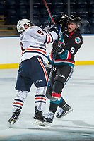 KELOWNA, CANADA - SEPTEMBER 5: Jackson Shepard #9 of the Kamloops Blazers checks Jack Cowell #8 of the Kelowna Rockets on September 5, 2017 at Prospera Place in Kelowna, British Columbia, Canada.  (Photo by Marissa Baecker/Shoot the Breeze)  *** Local Caption ***