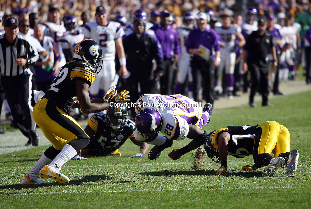 Minnesota Vikings running back Adrian Peterson (28) runs for a first down while being tackled by Pittsburgh Steelers safety Ryan Clark (25) during the NFL football game against the Pittsburgh Steelers, October 25, 2009 in Pittsburgh, Pennsylvania. The Steelers won the game 27-17. (©Paul Anthony Spinelli)