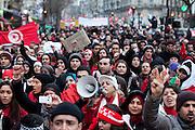 Paris, France. 22 Janvier 2011.Manisfestation de soutien a la Tunisie...Paris, France. January 22nd 2011..Supportive protest for Tunisia......