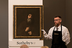 "© Licensed to London News Pictures. 06/07/2016. London, UK.  ""St Francis of Paola"" by Jusepe de Ribera, called Spagnoletto, which sold for a hammer price of GBP 240k (est. GBP 100-150k) at Sotheby's Old Masters evening sale in New Bond Street. Photo credit : Stephen Chung/LNP"