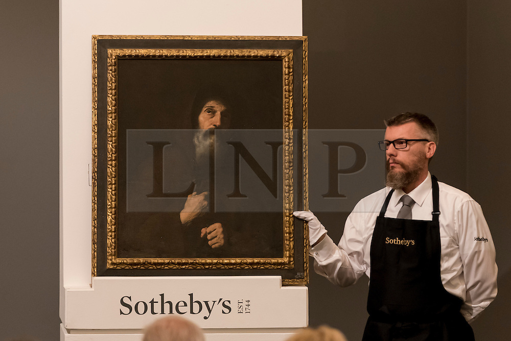 """© Licensed to London News Pictures. 06/07/2016. London, UK.  """"St Francis of Paola"""" by Jusepe de Ribera, called Spagnoletto, which sold for a hammer price of GBP 240k (est. GBP 100-150k) at Sotheby's Old Masters evening sale in New Bond Street. Photo credit : Stephen Chung/LNP"""