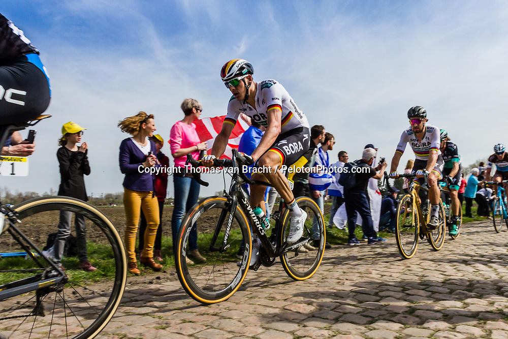 Marcus BURGHARDT from Germany of Bora-Hansgrohe at the 4 star cobblestone sector 17 from Hornaing to Wandignies during the 2018 Paris-Roubaix race, France, 8 April 2018, Photo by Thomas van Bracht / PelotonPhotos.com | All photos usage must carry mandatory copyright credit (Peloton Photos | Thomas van Bracht)
