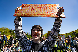Edinburgh, Scotland, UK. 24 May, 2019. <br /> Scottish Youth Climate Strike by schoolchildren in central Edinburgh. Students took a day off school to meet in The Meadows park before marching along the Royal Mile to a protest held outside the Scottish Parliament at Holyrood. The protest is to coincide with the second global school strike for climate - along with over 1500 locations around the world. The strikes were started in August 2018 by the Swedish schoolgirl Greta Thunberg and have since been mirrored across the world.
