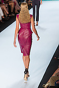Magenta cap-sleeved leather dress with pieced panels. By Monique Lhuillier at Spring 2013 Fall Fashion Week in New York.