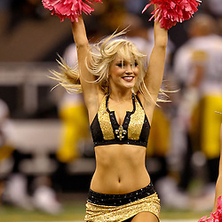 Oct 31, 2010; New Orleans, LA, USA; New Orleans Saints Saintsations cheerleaders perform during a game against the Pittsburgh Steelers at the Louisiana Superdome. The Saints defeated the Steelers 20-10.  Mandatory Credit: Derick E. Hingle