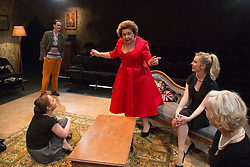 © Licensed to London News Pictures. 02/09/2015. London, UK. L-R: Matthew Fraser Hollan, Vicky Binns, Wendi Peters, Diana Vickers and Wendy Morgan. World premiere of Hatched 'n' Dispatched, a black comedy set on one evening in 1959, opens at the Park Theatre in Finsbury Park. Written by Gemma Page & Michael Kirk, directed by Michael Kirk, the comedy stars Wendi Peters, Diana Vickers and Vicky Binns. Running from 1 to 26 September 2016. Photo credit : Bettina Strenske/LNP