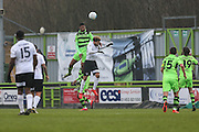 Forest Green Rovers Ethan Pinnock(16) heads the ball during the Vanarama National League match between Forest Green Rovers and Boreham Wood at the New Lawn, Forest Green, United Kingdom on 11 February 2017. Photo by Shane Healey.