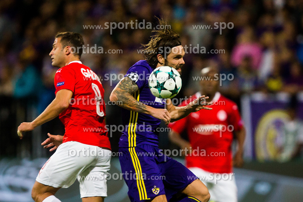 Marko Suler of NK Maribor and Mohammad Ghadir of Hapoel Beer-Sheva during football match between NK Maribor and Hapoel Beer-Sheva in Second leg of UEFA Champions League playoff round, on August 22 2017 in Ljudski vrt, Maribor, Slovenia. Photo by Ziga Zupan / Sportida
