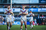 Matty Ashurst (11) of Wakefield Trinity celebrates the win for his team after the Betfred Super League match between Wakefield Trinity Wildcats and Warrington Wolves at Belle Vue, Wakefield, United Kingdom on 16 February 2020.