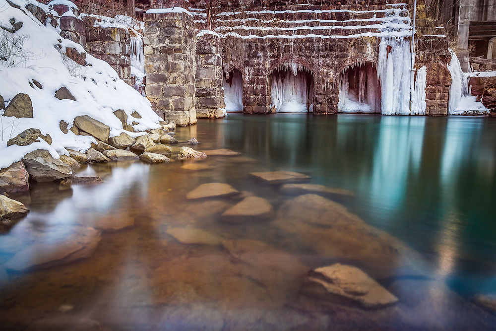 Icy reflections under the hydroelectric station at Kanawha Falls in Glen Harris, West Virginia.