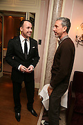 DAVID FURNISH AND PATRICK COX, Dinner hosted by Elizabeth Saltzman for Donatella Versace. Claridge's Hotel, Brook Street, Mayfair, London. 11 March 2008.  *** Local Caption *** -DO NOT ARCHIVE-© Copyright Photograph by Dafydd Jones. 248 Clapham Rd. London SW9 0PZ. Tel 0207 820 0771. www.dafjones.com.