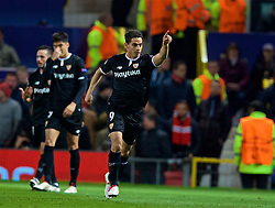 MANCHESTER, ENGLAND - Tuesday, March 13, 2018: Sevilla's Wissam Ben Yedder celebrates scoring the first goal during the UEFA Champions League Round of 16 2nd leg match between Manchester United FC and Sevilla FC at Old Trafford. (Pic by David Rawcliffe/Propaganda)