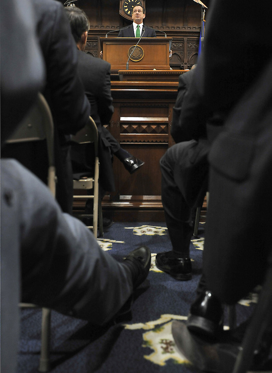Governor Dan Malloy addresses the senate and the house at the Capitol in Hartford, Conn., Wednesday, Jan. 5, 2011. (AP Photo/Jessica Hill)