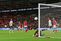 19 September 2017 -  EFL Cup (Third round) - Tottenham Hotspur v Barnsley - Juan Foyth of Tottenham Hotspur heads wide - Photo: Marc Atkins/Offside