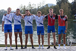 Ales Jalen and Kristjan Markovc (first place), Jure Poljanec and Zan Erzen (second place) and Tim Mahne and Tomaz Suligoj (third place) in category JMB2x (Men's Junior B Double sculls) during rowing at Slovenian National Championship and farewell of Iztok Cop, on September 22, 2012 at Lake Bled, Ljubljana Slovenia. (Photo By Matic Klansek Velej / Sportida)