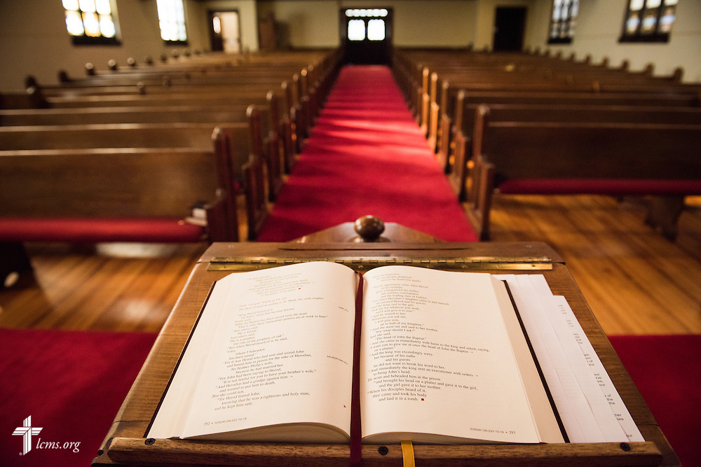 The lectern near the altar before Divine Service at Trinity Lutheran Church on Wednesday, July 15, 2015, in Danville, Ill. LCMS Communications/Erik M. Lunsford