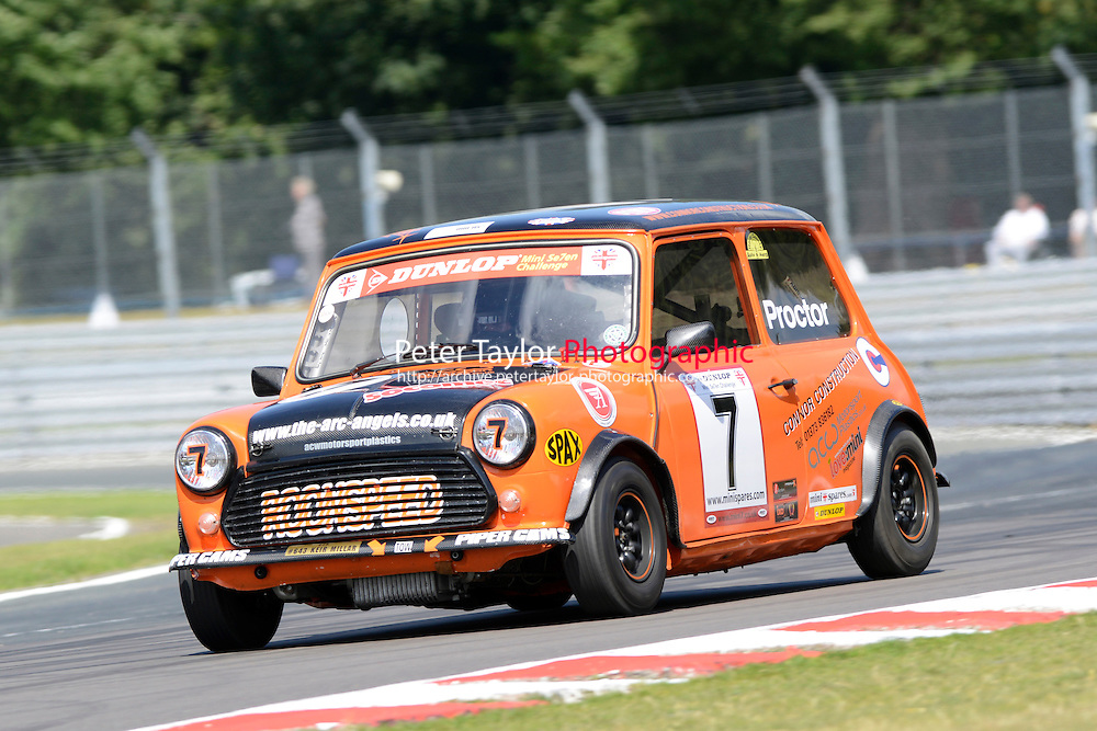 #7 Julian Proctor Mini 7 during Mini Se7en - Race 1  as part of the Mini Festival  at Oulton Park, Little Budworth, Cheshire, United Kingdom. August 08 2015. World Copyright Taylor/PSP. Copy of publication required for printed pictures.  Every used picture is fee-liable. http://archive.petertaylor-photographic.co.uk