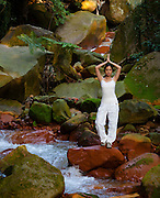 Yoga in the stream.
