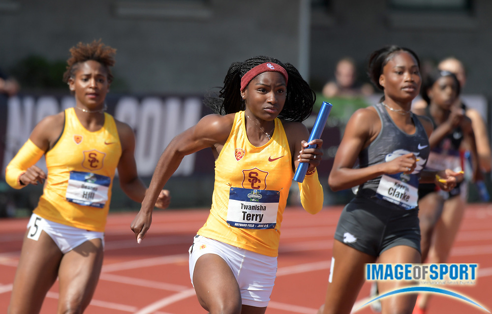 Jun 7, 2018; Eugene, OR, USA; Twanisha Terry runs the anchor leg on the Southern California women's 4 x 100m relay that won its heat in 42.97 during the NCAA Track and Field championships at Hayward Field.
