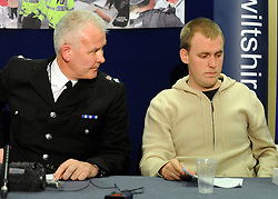©London News pictures. 21/03/11.  (L) Chief Supt Steve Hedley looks at  Boyfirend Kevin Reape.A press conference with members of Sian O'Callaghan's family. A massive police hunt was underway in a forest last night as fears grew over the disappearance of a woman who has not been seen for two days. Sian O'Callaghan, 22, was last seen at a nightclub in Swindon. Picture Credit should read Stephen Simpson/LNP