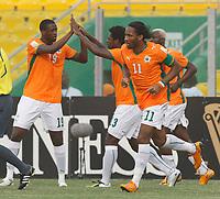 Photo: Steve Bond/Richard Lane Photography.<br />Ivory Coast v Mali. Africa Cup of Nations. 29/01/2008. Didier Drogba celebrates