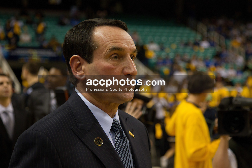 GREENSBORO, NC - DECEMBER 29: Duke Blue Devils head coach Mike Krzyzewski waits for his teams before playing the UNC-Greensboro Spartans on December 29, 2010 at the Greensboro Coliseum in Greensboro, North Carolina. Duke won 108-62 and with the win Mike Krzyzewski became the second all-time winningest Division I college basketball coach at 880 wins. (Photo by Peyton Williams/Getty Images) *** Local Caption *** Mike Krzyzewski