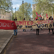 Noise precarious workers march from Trafalgar square to to Ministry of Justice demand a living wages , sex work ,Free movement and migrants on 1st May 2018, London, UK.