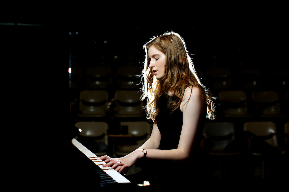 Bridget Galvin, 17, practicing in one of her favorite spots, the UAA Fine Arts Building, in Anchorage, AK on April 14, 2014.<br /> <br /> CREDIT: Ash Adams