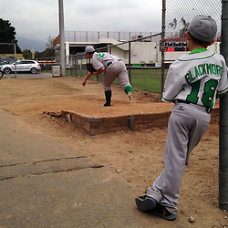 Braydon Blackmore son of Monrovia head coach Brad Blackmore watches a pitcher warm-up in the bull pen in the sixth inning of a prep baseball game against La Canada at La Canada High School in La Canada, Calif., Friday, April 24, 2015. Monrovia won 8-4.
