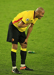 25 February 2017 - Premier League - Watford v West Ham - Younes Kaboul of Watford reacts after taking a blow to the ribs - Photo: Marc Atkins / Offside.