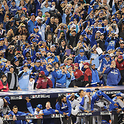 Kansas City Royals fans take pictures with their mobile phones at the moment the Kansas City Royals win the World Series and empty the dugout during the New York Mets Vs Kansas City Royals, Game 5 of the MLB World Series at Citi Field, Queens, New York. USA. 1st November 2015. Photo Tim Clayton