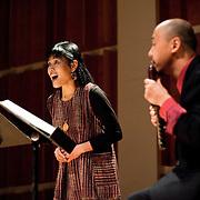 "February 18, 2012 - New York, NY : .Hitomi Nakamura, left, and Takeshi Sasamoto, on haisho (pan pipes), perform the World Premier of Sukeyasu Shiba's 'To Be Human' (2012) on the kugo, an angular harp, during ""Resonances of the Kugo,"" part of the 2012 New York Music From Japan Festival, at Merkin Concert Hall on Saturday. .CREDIT: Karsten Moran for The New York Times"