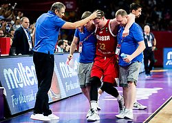 Sergey Bazarevich, head coach of Russia with Dmitrii Kulagin of Russia injured during basketball match between National Teams of Greece and Russia at Day 14 in Round of 16 of the FIBA EuroBasket 2017 at Sinan Erdem Dome in Istanbul, Turkey on September 13, 2017. Photo by Vid Ponikvar / Sportida