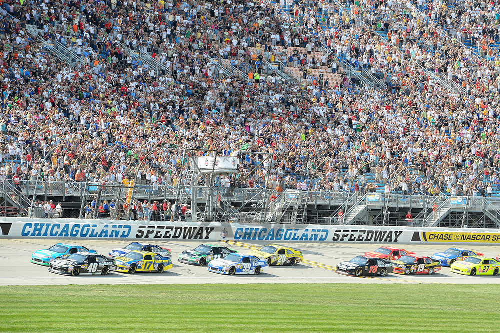 Joliet, IL - SEP 16, 2012: Jimmie Johnson (48) takes the green flag during the Geico 400 at the Chicagoland Speedway in Joliet, IL.