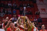 2019-04-27 | Stockholm, Sweden: Storvreta celebrates after winning the finalgame between Storvreta IBK and IBF Falun at Ericsson Globe Arena ( Photo by: Simon Holmgren | Swe Press Photo )<br /> <br /> Keywords: Ericsson Globe Arena, Stockholm, Floorball, SM-Final, Storvreta IBK, IBF Falun