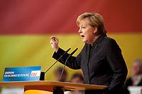 15 NOV 2010, KARLSRUHE/GERMANY:<br /> Angela Merkel, CDU, Bundeskanzlerin und CDU Bundesvorsitzende, waehrend ihrer Rede, CDU Bundesparteitag, Messe Karlsruhe<br /> IMAGE: 20101115-01-234<br /> KEYWORDS: party congress, speech, Parteitag