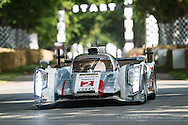Chichester, UK - July 2013: The 2013 Le Mans 24 Hours winning car the Number 2 Audi R18 e-tron quattro in action at the Goodwood Festival of Speed on July 12, 2013.