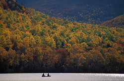 Lower South Branch Pond, Baxter S.P., ME. Canoeing amidst the fall foliage. Northern Forest.