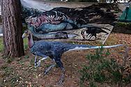 """Roma 30 Dicembre 2014<br /> """"Dinosauri in Carne e Ossa"""", mostra di dinosauri e altri animali preistorici estinti, a grandezza naturale, allestita dall' Associazione paleontologica ambientale, all'Università La Sapienza di Roma. La mostra sara aperta fino al 31 Maggio 2015. La scultura di un Ornitholestes hermanni.<br /> Rome December 30, 2014<br /> """"Dinosaurs in Flesh and Bones"""", an exhibition of dinosaurs and other prehistoric animals extinct, to life-sized, prepared by Association paleontological environmental, a La Sapienza University of Rome. The exhibition will be open until May 31, 2015. The sculpture of Ornitholestes hermanni."""