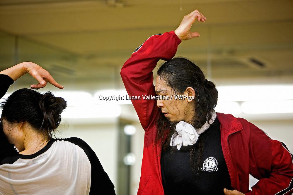 The dancer Susumu Inada training.Morioka,Iwate prefecture,Japan.