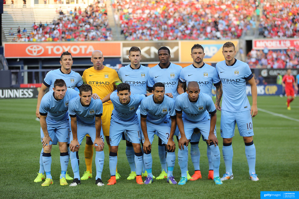 The Manchester City team pose for a team photograph at Yankee Stadium before the Manchester City Vs Liverpool FC Guinness International Champions Cup match at Yankee Stadium, The Bronx, New York, USA. 30th July 2014. Photo Tim Clayton