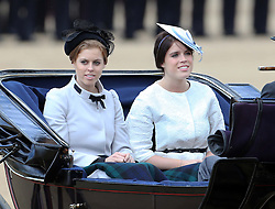 Princess's Eugenie and Beatrice arriving for  the Trooping The Colour in London,<br /> Saturday, 15th June 2013 Picture by Stephen Lock / i-Images