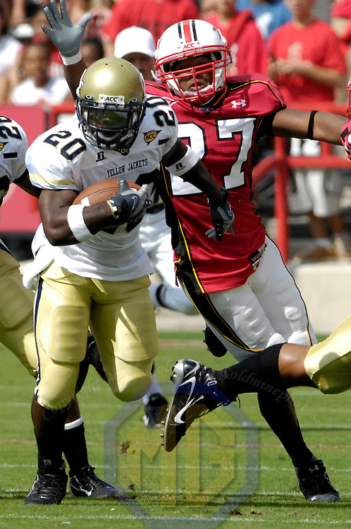 06 October 2007:  Georgia Tech running back Jamaal Evans (20) makes 20 yard kick off return in the 1st quarter against Maryland defensive back Dominique Herald (27) on October 6, 2007 at Byrd Stadium in College Park, Maryland.