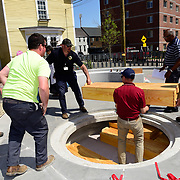 "Taken on May 6, 2015, at the African Burying Ground Memorial in Portsmouth NH, during a ""dry run"" of fitting the new coffins into the crypt a few weeks before the memorial's official opening."