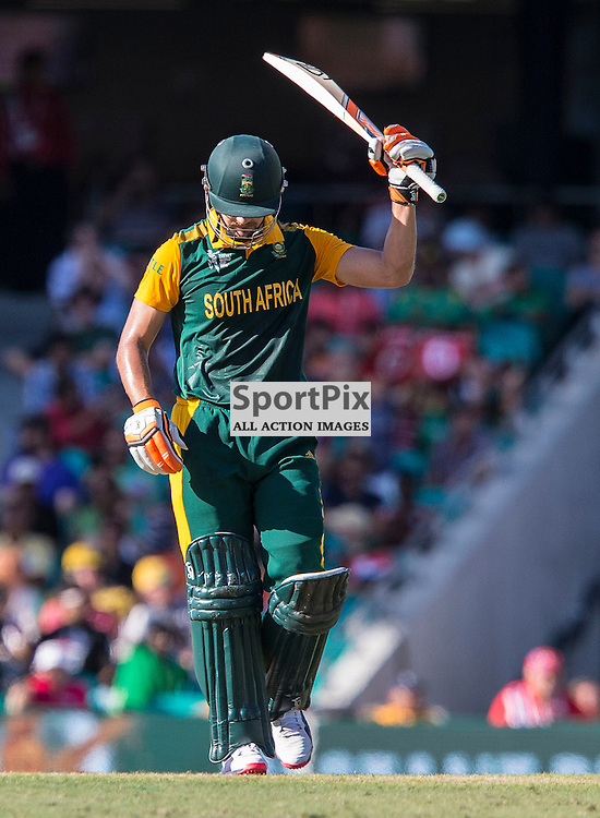 ICC Cricket World Cup 2015 Tournament Match, South Africa v West Indies, Sydney Cricket Ground; 27th February 2015<br /> South Africa&rsquo;s Rilee Rossouw acknowledges the crowd